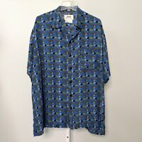 Flax Women Size Large Top Shirt Button Down Rayon Print Short Sleeve Collar