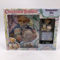 Vintage Cherished Teddies Computer Set Enesco Figurine Mouse Pad Floppy Disk New