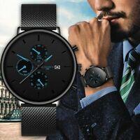 Men Watch Fashion Military Stainless-Steel Date Sport Quartz Analog Wrist Watch~