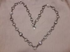 """Daisy Fuentes 33"""" Fashion Statement Necklace or Belt - Silver Tone white saucers"""