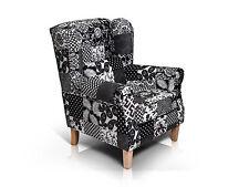 WILLY Wohnzimmer Polstersessel Ohrensessel 1-Sitzer Sessel Patchwork Schwarz