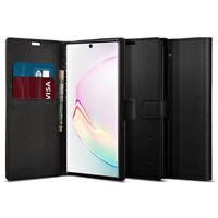 Galaxy Note 10, Note 10 Plus/10 Plus 5G Case Spigen® [Wallet S] Black Leather