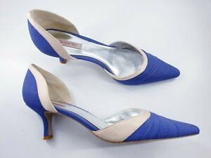 Jacques Vert size 6 (39) lavender blue ivory satin slim heel bridal court shoes
