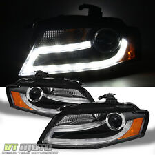 Black 2009-2012 Audi A4 B8 DRL LED Light Bar Projector Headlights Left+Right set