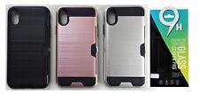Defender Card Back Cover Case Schutzhülle Tempered Glass 9H für iPhone X / XS