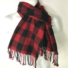 Old Navy Scarf Men's Plaid Buffalo Check Red Black Fringe Holiday One Size Soft