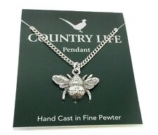 Bumble Bee Pendant Necklace with Chain (Silver Pewter Bumblebee Made in The UK)