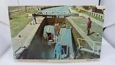 Vintage Postcard Barges on Canal Negotiating the Locks at Dudswell Circa 1960s