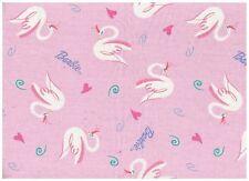 BARBIE Fabric TOSSED SWANS Pink Cotton Glitter Birds Mattel 2003 1 YARD