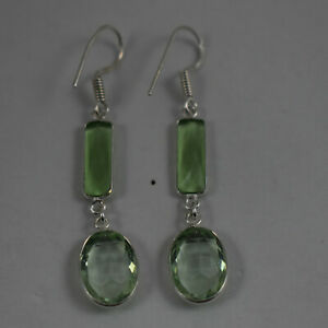 925 Sterling Silver Plated Handmade Oval Green Amethyst Gems Earrings BES1289