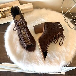 New Vince Camuto Womens Booties Boots Tulina Coffee Grind Color  Suede Size  8.5