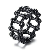Stylish Punk Motorcycle Biker Chain Ring Mens Black Stainless Steel Band Sz 9-13