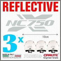 3x Rifrangenti ADESIVI Grigio / Bianco compatibile con NC 750 S HONDA NC750