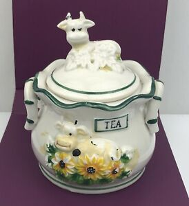 Vintage Sugar Bowl Cow With Daisies White And Green Porcelain Tea Bag Holders