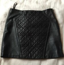 Black KOOKAI Quilted Leather Skirt Size 40 10 -12 Very soft & supple lamb Lined
