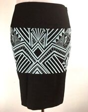 Etcetera Pencil Skirt 2 XS Brown Teal Embroidered Geometric Aztec Knee Lgth Work