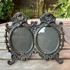 Victorian Art Nouveau Cast Iron Double Photo Picture Frame Easel Self Standing