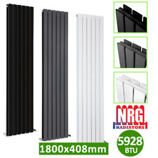 DESIGNER Flat Panel Radiator Tall Upright Central Heating Anthracite White Anthracite 1800x408mm - Double