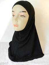 Black Two Piece Plain Hijab Muslim Head Wear Cover Women Scarf Cap Islam Cotton