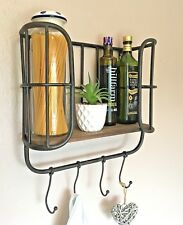 Vintage Industrial Style Wood Metal Wall Shelf Storage Unit Hooks Retro Kitchen