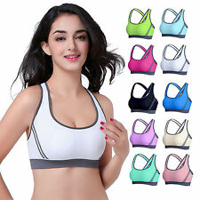 Womens Yoga Fitness Stretch Workout Seamless Racerback Padded Sport Bra Tank Top