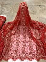 """Red Gold Beaded Sequins Embroidery Bridal Lace Fabric 50"""" Width Sold By The Yard"""