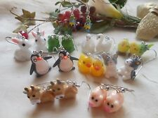 Cute 3D Animal Drop / Dangle Earrings - 24 Different Styles - Hypoallergenic