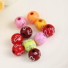 500PCs Acrylic Beads Round At Random Cross Pattern Colorful DIY Beads 8mm