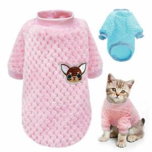 Coral Fleece Kitten Costume Dog Jumpsuit Puppy T-shirt Pet Clothes Printed Vest