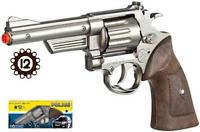 NEW Gonher Model 66 Police Style Toy Cap Gun Revolver - Chrome