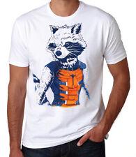 Guardians Of The Galaxy Rocket Raccoon Stencil Superhero Sci-Fi White T Shirt