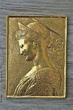 Beautiful brass Arts and Crafts princess wall plaque hanging panel SE7