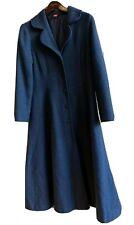 Sundance Full Length Wool Dress Coat Swing Jacket Blue Navy Women 8 long