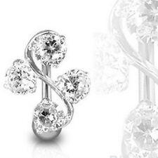 Body Piercing Crystal Rhinestone Navel Belly Button Ring Barbell Dangle Flower