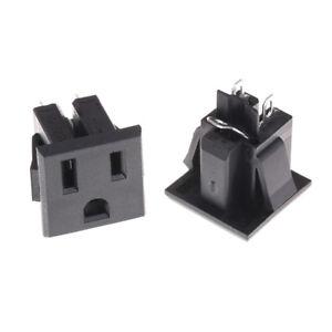 2PCS 3 Pins Black Plastic AC 125V 15A Panel Mount US Outlet Power Socket   ZU AJ