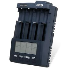 Opus BT-C3100 V2.2 Digital Intelligent 4 Slots LCD Battery Charger US PLUG New