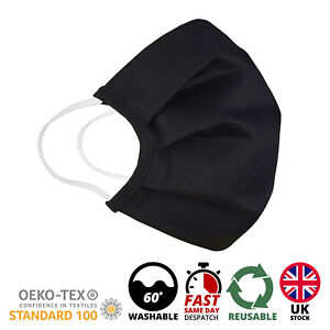 Face Mask Breathable Washable Black Reusable Face Mouth Protection UK