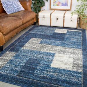 Navy Rugs For Living Room Denim Blue Geometric Cosy Bedroom Rug Warm Hall Runner