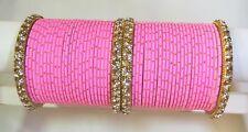 Indian Bollywood 52pcs Pink Colored Bridal Wedding Bangles Set Jewelry 2.8