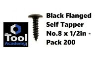 Self Tapping Black Flanged Pozi Screw Drive  - 200 -  No 8 x 1/2 - 4.2mm x 12mm