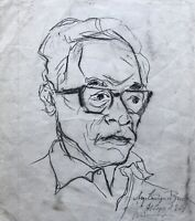 Août Lange-Brock 1891-1979 Hamburg Dessin Portrait D'un D'Homme Dédicacé