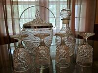 Beautiful Vintage Diamond Glass Bar Set includes Decanter Ice Bucket 4 Glasses