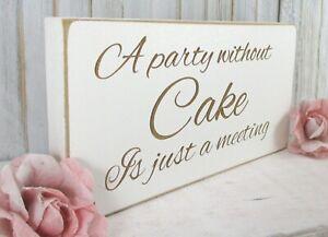 Wedding Cake Sign Free Standing Vintage Shabby & Chic White