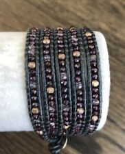 New Auth Chan Luu Garnet Mix Five Wrap Bracelet on Metallic Grey Leather