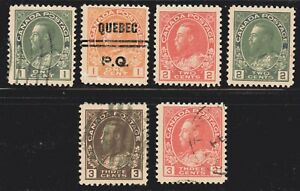 "1911-25 Canada SC# 104-109-King George V""Admiral"" Issue-Lot CU252-Used"
