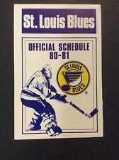 1980-81 St.Louis Blues NHL Hockey Pocket Schedule Original Goalie Mask Vintage
