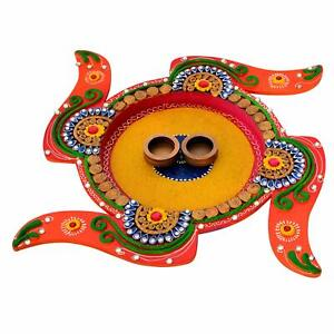 Wooden Indian Handmade Coloured Sathiya Design Pooja Thali with Diya Multicolor