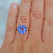 8.49ct Trillion Colour Change Fluorite Gold Ring