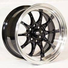 15x8 MST MT11 4x100/4x114.3 +0 Black w/Machine Lip Wheels (Set of 4)
