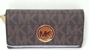 Michael Kors Fulton Carryall Leather Black Brown White Tan PVC Brown Wallet NWT